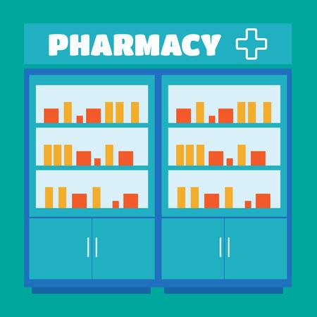 dispensary: Male pharmacist in a pharmacy opposite the shelves vector. Pharmacist vector Illustration