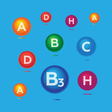 medica: Vitamins and minerals background. Vitamins health medica vector icons set. Vitamins vector Illustration