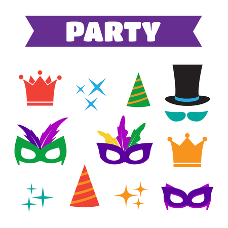 hair mask: Party Birthday photo booth props. Hat and mask, costume and cylinder, bunny ears nose moustache. Birthday vector