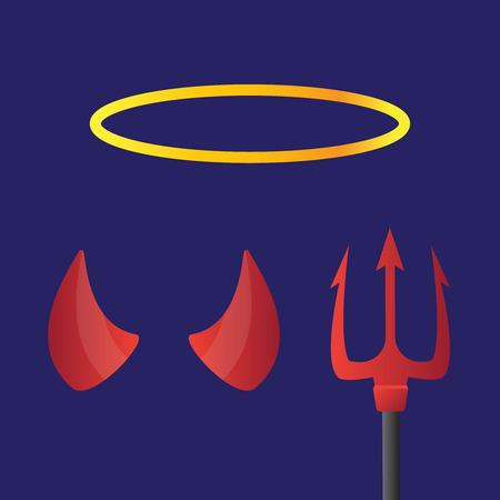 devil horns: Red and black devil horns. Devil horns vector sign