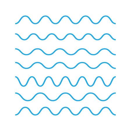 Icone di contorno delle onde, disegno moderno piatto minimo. Simbolo della linea sottile d'onda. Vettore icone onde