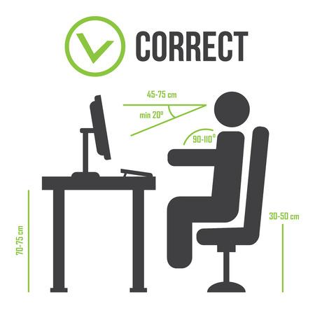 Position assise correcte correcte position des personnes. Bonne position assise Banque d'images - 71517651