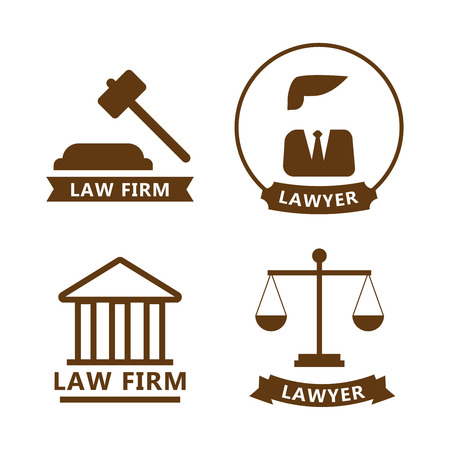 Law and justice thin line vector logo. Law and justice vector