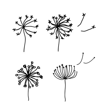 Black dandelion silhouette with wind blowing flying seeds isolated.