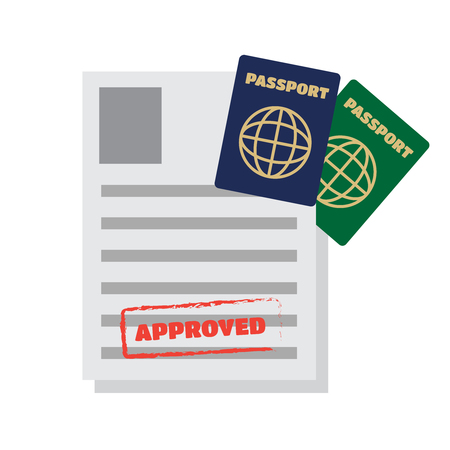 immigrate: Visa stamping. Passport or visa application. Travel vector