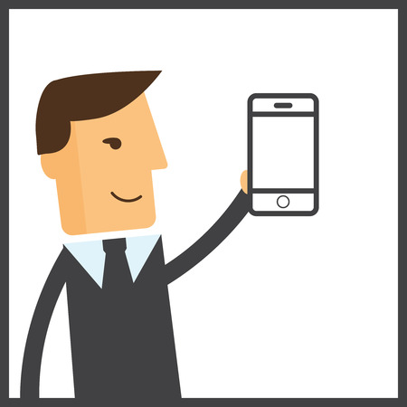bot: Man chatting with chat bot on smartphone vector illustration. Communication with chat bot use smartphone, message for chat bot