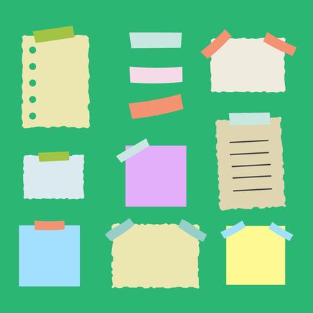 memo pad: Colorful sticky paper note illustration set Illustration