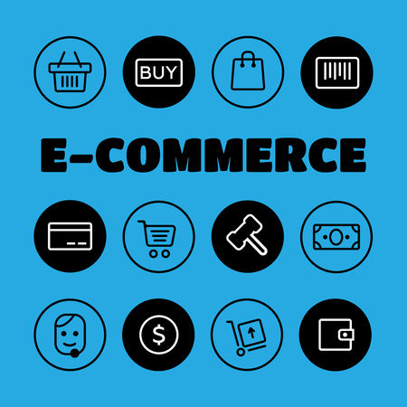 stockpile: Shopping and E-commerce icons set. Shopping business e-commerce delivery icons