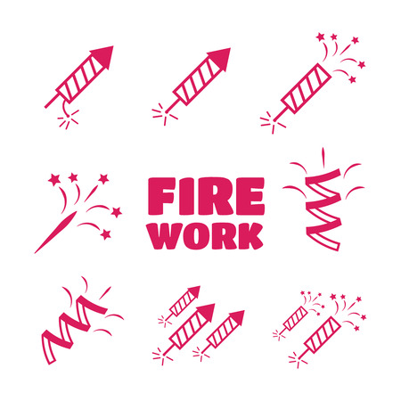 Firework set illustration. Firework icons set Illustration