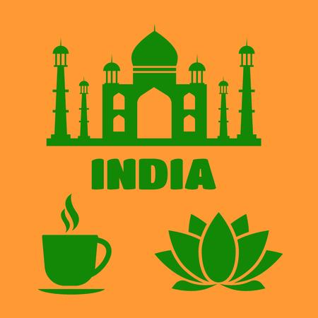 India flat icons with national landmarks. India sign. India flat icons Illustration