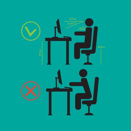 Richtige und schlechte Wirbelsäule , die Haltung sitzen . Vector Skizze , der Haltung schaut Vektorgrafik