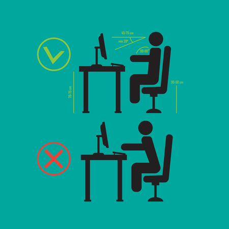 Correct and bad spine sitting posture. Vector diagram sitting posture Illustration