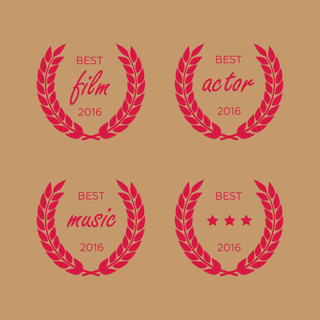 Best award Vector gold award laurel wreath set. Winner label, leaf symbol victory eps10