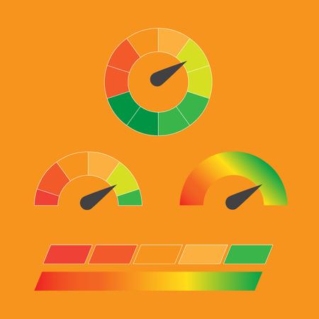 Credit score indicators and gauges set