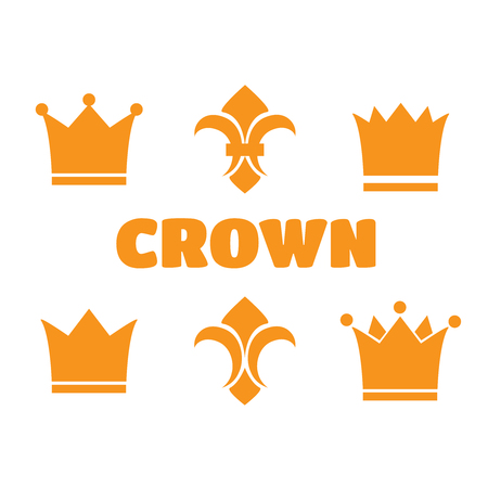 fleur of lis: Crown and fleur de lis icons. Heraldic crowns and diadems for design