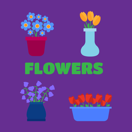 Spring flowers. Fun and cute spring flower shop Illustration