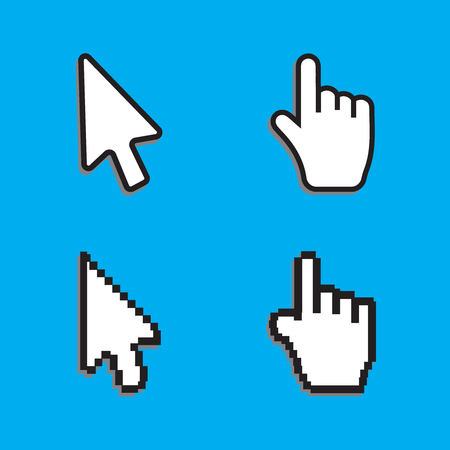 help section: Pixel cursors icons mouse hand arrow. Cursors vector