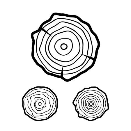 Tree rings vector illustration. Tree rings vintage symbol.
