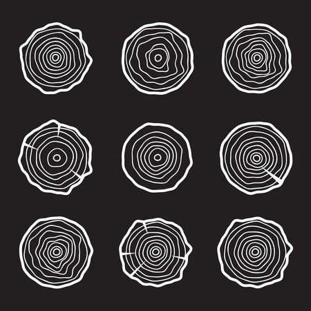 plywood: Tree rings background and saw cut tree trunk Illustration
