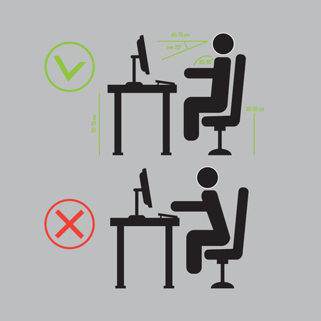 incorrect: Incorrect and Correct back sitting position vector Illustration