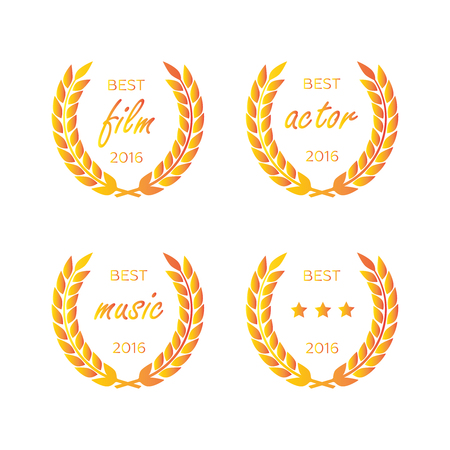 Best award gold award laurel wreath set. Winner label, leaf symbol victory