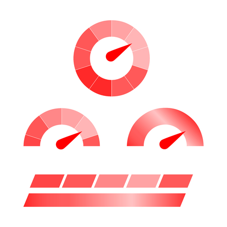 Meter icons. Symbols of speed meters, manometers. Speed meters set Illustration