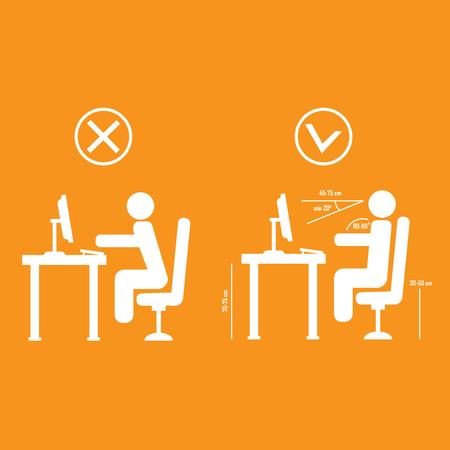 Korrekte und schlechte Wirbelsäule sitzende Haltung Illustration