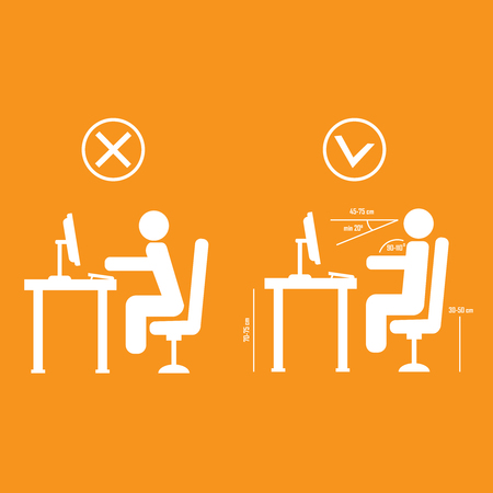 Correct and bad spine sitting posture
