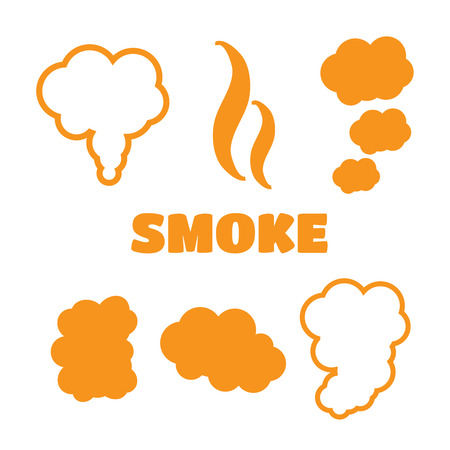 Set of flow smoke abstraction icons isolated.