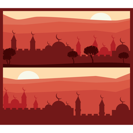 Horizontal abstract banners of arab city vector background. Arab city