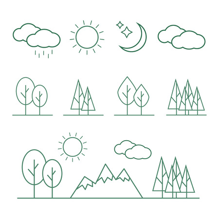 Linear landscape elements icons set. Line trees, flowers, bushes, water waves, cloud, stones, grass plant in flat style Ilustração