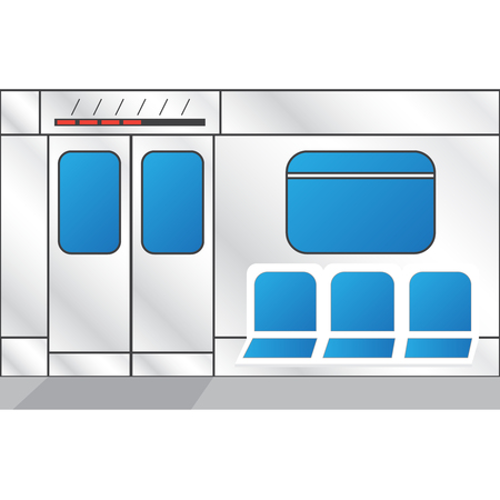 Metro train interior vector. Metro doors vector