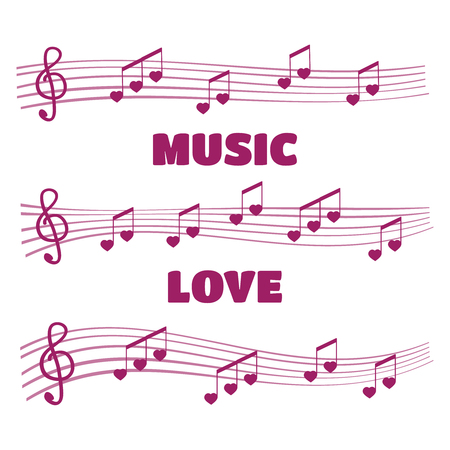 chords: Musical notes and chords heart. Music love