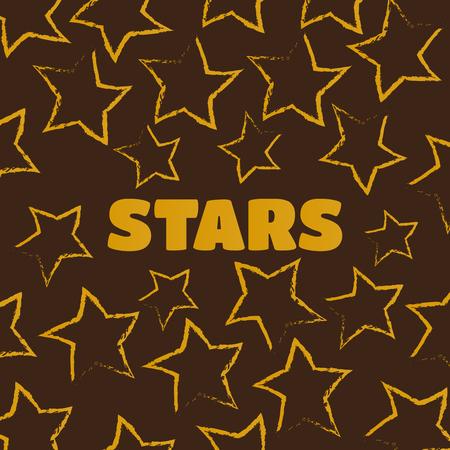 Vector illustration of hand-drawn doodle pattern with stars. Sta Vektoros illusztráció