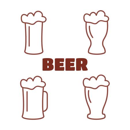 Vintage beer brewery logos, emblems vector illustration