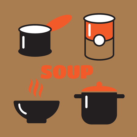 borscht: Soup dish isolated icon. Soup icons vector set Illustration