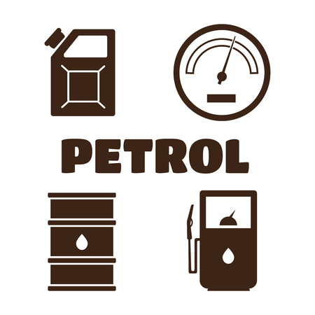 fuelling pump: Gas station vector icons set. Petrol icon, car and oil icon Illustration