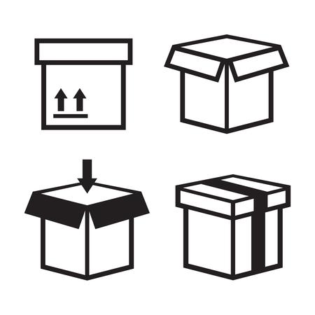 Carton box pack set packing boxes vector