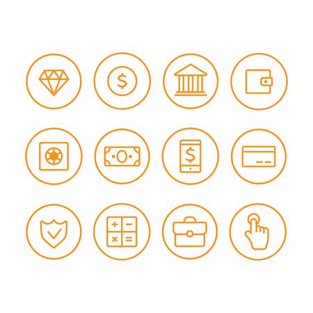 E-commerce shopping line vector icons