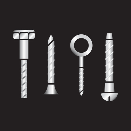 Construction hardware icons. Screws, bolts, nuts and rivets vector. bolts vector