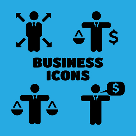 flexible business: Business Policies black Icons set vector illustration