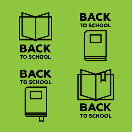 open magazine: Book logo set for education and school. Back to school logo