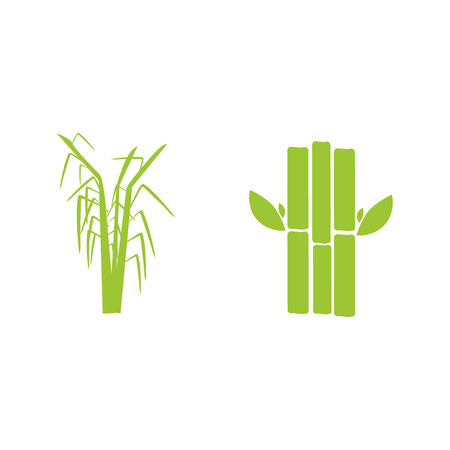 Sugar cane flat icons set illustration vector