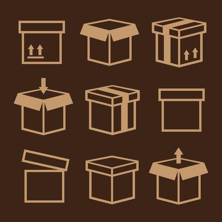 folded paper: Carton box pack set packing boxes Illustration