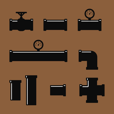 sewage system: Pipe fittings icons set. Tube industry, construction pipeline