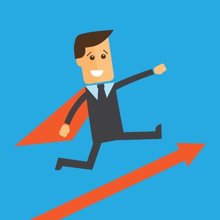 Businessman or manager like a superman. Vector illustration Illustration