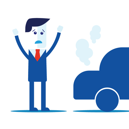 car: Businessman, car broke down