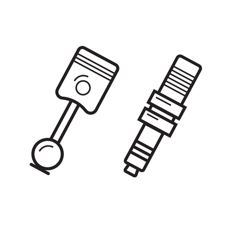 mechanical radiator: Pistons illustration in line style, car spare concept. Illustration