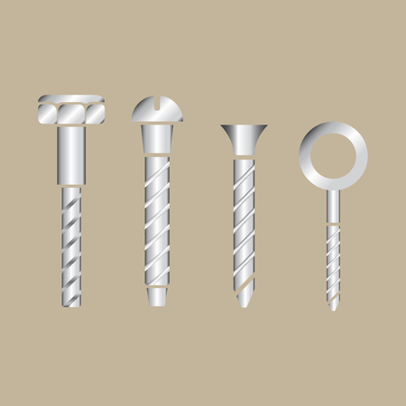 Construction hardware icons. Screws, bolts, nuts and rivets. Equipment stainless vector