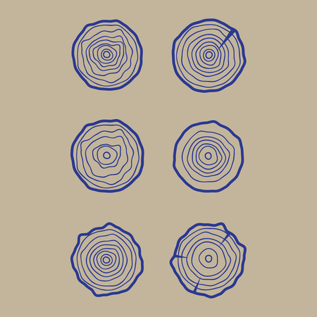 plywood: Set tree rings icons vector illustration vector